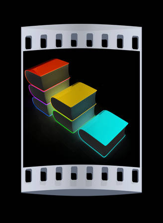 bookshop: Glossy Books Icon isolated on a black background. The film strip