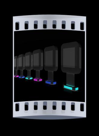 Vertical glossy billboards. 3d illustration on black background. The film strip Stock Photo