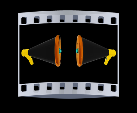 proclaim: Loudspeakers as announcement icon. Illustration on black. The film strip