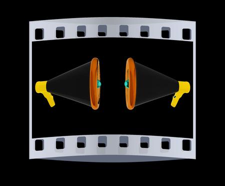 loudhailer: Loudspeakers as announcement icon. Illustration on black. The film strip