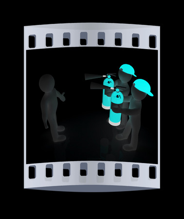 confrontation: 3d mans with red fire extinguisher. The concept of confrontation on a black background. The film strip
