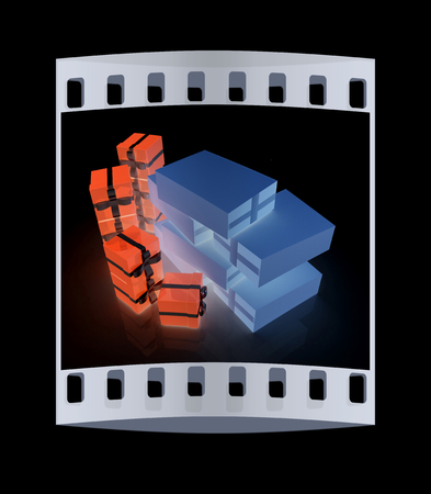 distribution board: Cardboard boxes and gifts on a black background. The film strip Stock Photo