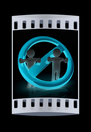 admittance: 3d persons and stop sign. The film strip