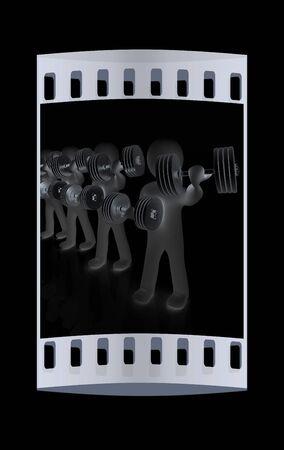 metall: 3d mans with metall dumbbells on a black background. The film strip