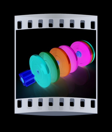 disassembly: Colorful dumbbells are assembly and disassembly on a black background. The film strip