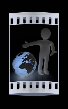 sphere standing: 3d people - man, person presenting - pointing. Global concept with earth. The film strip