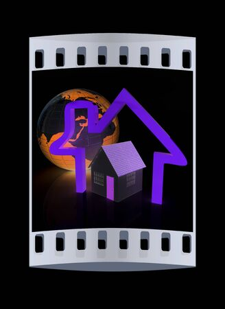 3d green house, earth and icon house on black background. The film strip Stock Photo