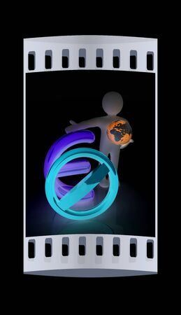 fellows: 3d man with prohibition sign, Earth and euro. The film strip Stock Photo
