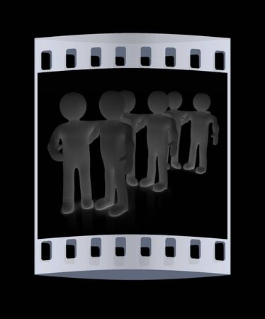 meet up: Friends standing next to an embrace and raised ones hand for greeting. 3d image. Isolated black background. The film strip Stock Photo