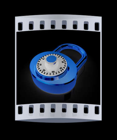 pad lock: Illustration of security concept with gold locked combination pad lock on a black background. The film strip Stock Photo
