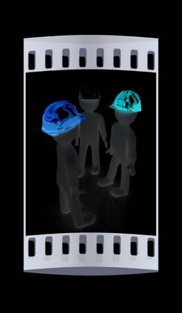 i like: 3d mans in a hard hat on a black background. The film strip