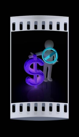 a fellow: 3d man with prohibition sign and dollar. The film strip