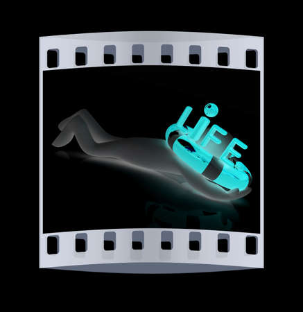 ring life: Man with life ring. 3d rendered illustration. The film strip Stock Photo