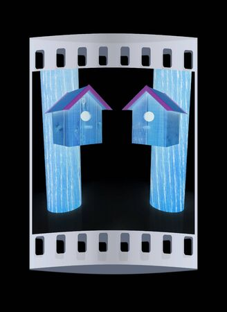 nesting: Nesting boxes on a black background. The film strip