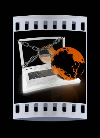 lock and chain: Laptop with lock, chain and earth on a black background. The film strip Stock Photo