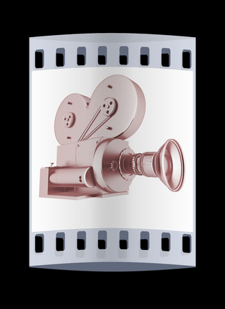 camera film: Old camera. 3d render. The film strip
