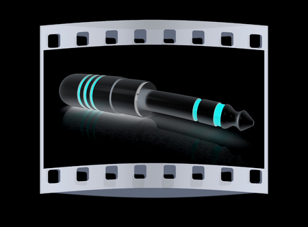 interconnect: Electric plug on a black background. The film strip