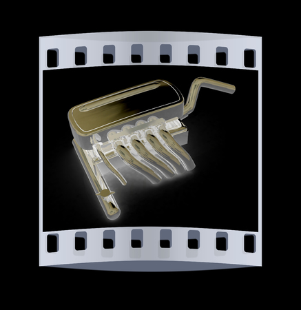 exhaust system: Exhaust system on a black background. The film strip Stock Photo