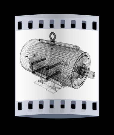 spares: 3d-model of an electric motor. The film strip