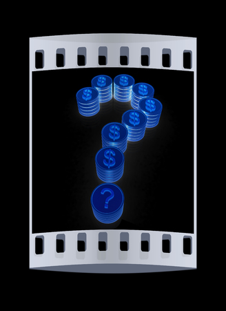 buying questions: Question mark in the form of coins with dollar sign. The film strip Stock Photo