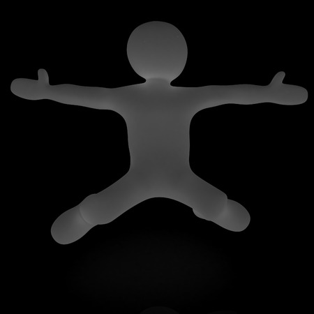 freefall: falling 3d man on white background