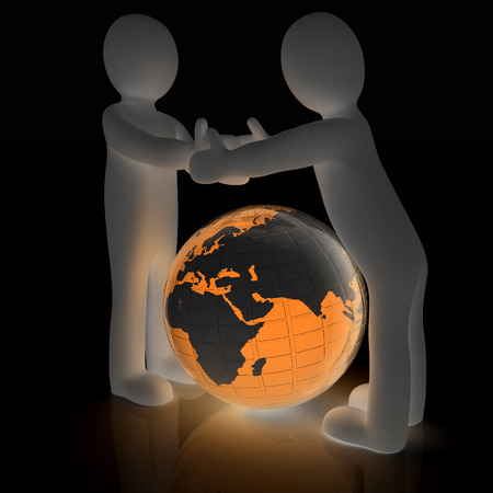companionship: 3d mens around the earth kindly make contact