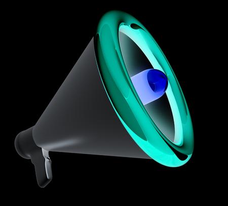 speaking tube: Loudspeaker as announcement icon. Illustration on white