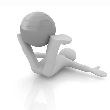 abdominal muscle exercises: 3d man exercising position on fitness ball. My biggest pilates series
