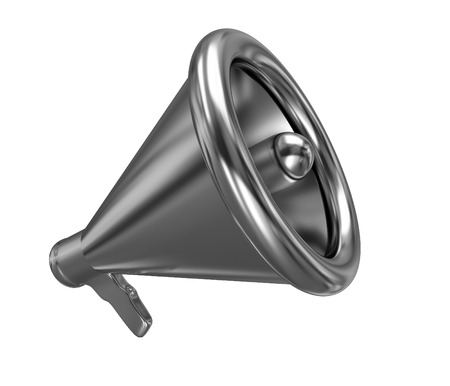 announcement icon: Gold loudspeaker as announcement icon. Illustration on white Stock Photo