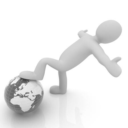 technology symbols metaphors: 3d man and earth. Global business concept: the whole earth at my feet Stock Photo