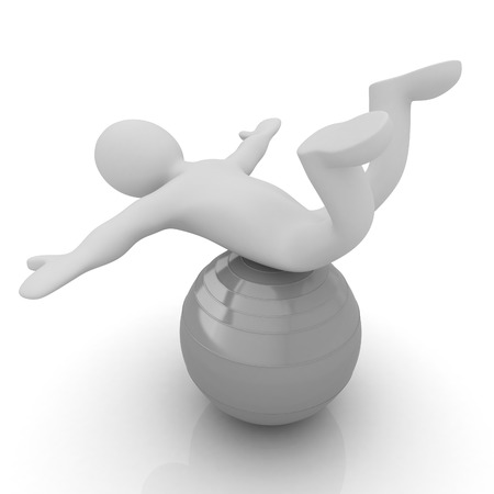 fitness ball: 3d man exercising position on fitness ball. My biggest pilates series