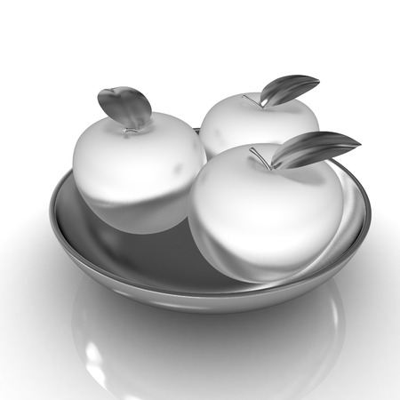 metall: Metall apples on a plate