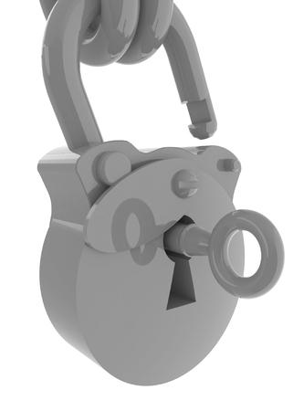 unlocked: Vintage old padlock unlocked Stock Photo