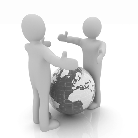 outstretched hand: 3d mens around the earth kindly make contact