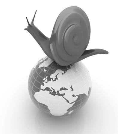 slow food: 3d fantasy animal, snail and earth on white background Stock Photo