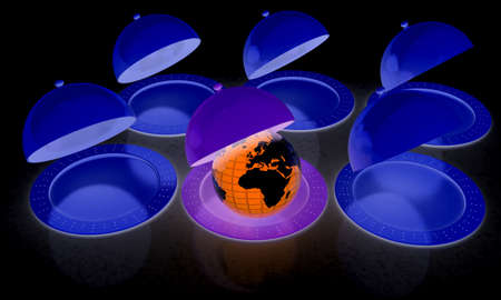 Serving dome or Cloche and Earth Stock Photo