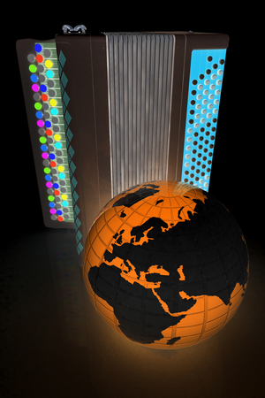 concertina: Musical instruments - bayan and Earth. Global musical concept