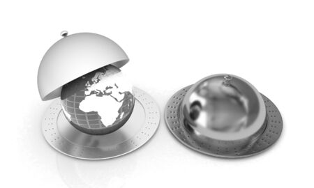 dome: Serving dome or Cloche and Earth Stock Photo