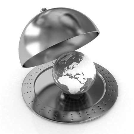 cloche: Serving dome or Cloche and Earth Stock Photo
