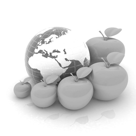 smallest: Earth and apples around - from the smallest to largest. Global dieting concept Stock Photo