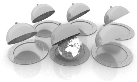 silver ware: Serving dome or Cloche and Earth Stock Photo