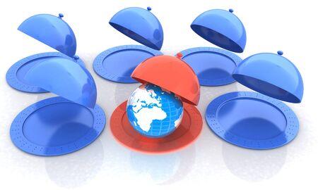 silver ware: Serving dome or Cloche and Earth Stock Photo