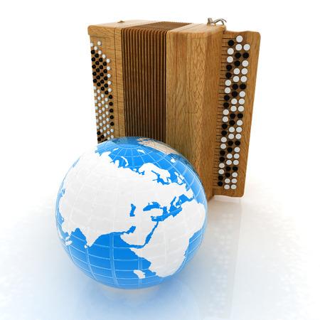 concertina: Musical instrument - retro bayan and Earth