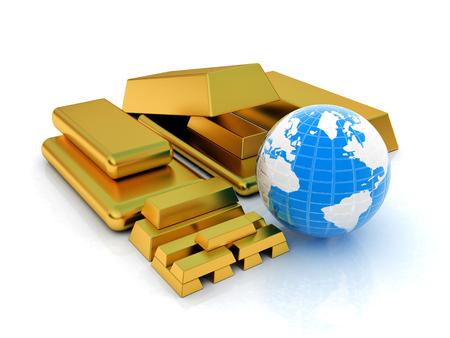 Earth and gold bars Reklamní fotografie - 47681377