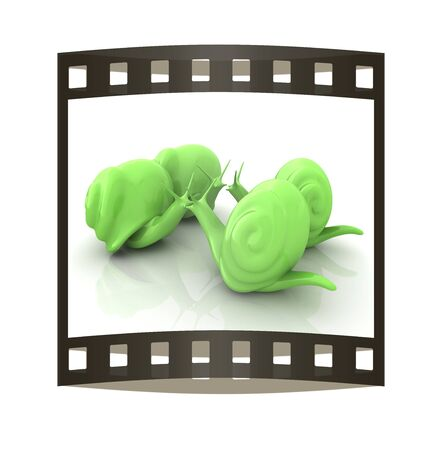 slow food: 3d fantasy animals, snails on white background