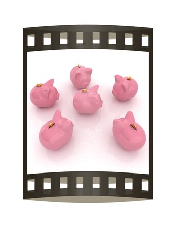 large group of items: gold coin with with the piggy banks Stock Photo