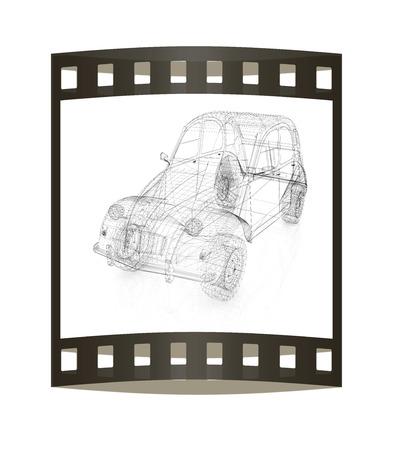 retro: 3d model retro car Stock Photo