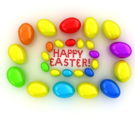 small group of objects: Easter eggs as a Happy Easter greeting on white background