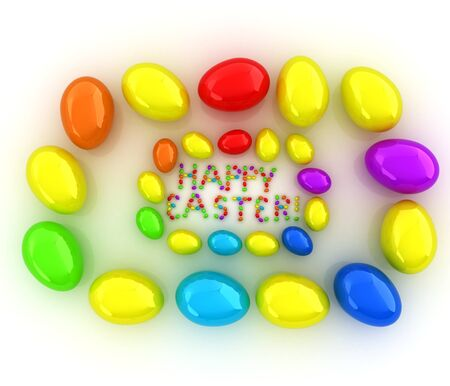 directly above: Easter eggs as a Happy Easter greeting on white background