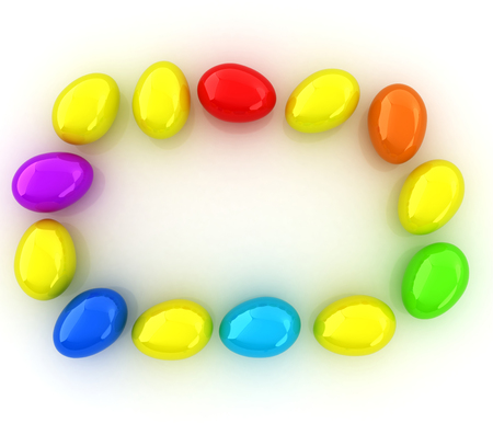directly above: Colored Eggs on a white background